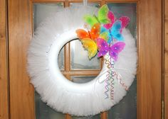 White Tulle Wreath with Bright and Colorful