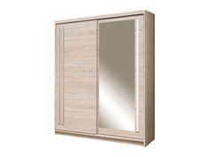 Dressing 2 uși glisante și oglindă,dimensiuni totale de 175 cm lungime, 215 cm înălțime și 59 cm adâncime, 6 rafturi, 1 spațiu cu bară de umerașe, material PAL melaminat. Sliding Wardrobe, Wardrobe Design, Bathroom Medicine Cabinet, Light Colors, Dressing, Doors, Mirror, Brown, Space