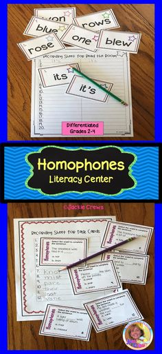 This differentiated homophone literacy center has 40 homophone word cards, sorting activities, 12 task cards, and quizzes. It is a hands-on resource. #homophones, #grade2, #grade3, #grade4, #literacycenters, #interactiveliteracy, #intermediateELA, #Jackiecrews, #ESL ,
