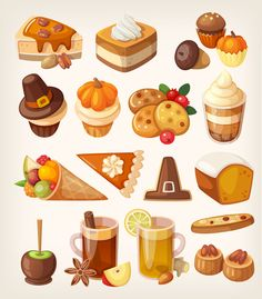 Thanksgiving Desserts (875×1000) food and drink, holidays, clipart, clip art, autumn, fall, pilgrims hats, acorns, pumpkins, pie, bread, cider, carmel apples, cookies, fruits, cupcakes, cakes, iced coffee, cheesecakes, pecans