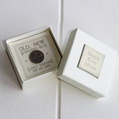 A cute little box with a good luck 'old' sixpence for a 'Happy Ever After'. This is the perfect little gift for the Bride for her