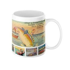 Vintage Fishing Postcards Novelty Coffee Mug In 11 or 15 oz.