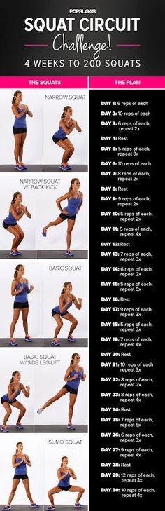 4 weeks to 200 squats~.. let's do this! Who is with me? We will start Sept 9th!