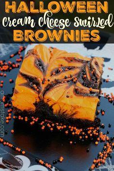 Try these Halloween cream cheese swirled brownies - a bold orange and dark brown…