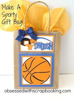 Obsessed with Scrapbooking: Make A Swoosh Basketball Gift Bag! Cricut Sports Mania basketball cut at Swoosh word art at Basketball Baby Shower, Basketball Gifts, Sports Gifts, Basketball Party, Softball Gifts, Basketball Awards, Hs Sports, Goodie Bags, Treat Bags