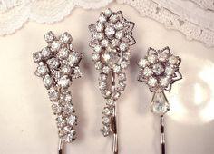 Art Deco Flapper Clear Rhinestone Bridal Hair Pins, Vintage Jeweled Silver Dangle Hair Accessories, Bobby Pin Set 3 OOAK Bridesmaids Gifts