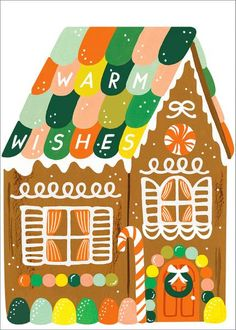 Rifle Paper Co Gingerbread House Greeting Card Holiday Greeting Cards, Holiday Photo Cards, Malcolm, Winter Karten, Diy Crafts To Do, Paper Source, Rifle Paper Co, Christmas Illustration, Winter Cards