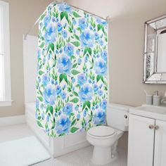 #Watercolor blue flowers shower curtain - #Bathroom #Accessories #home #living