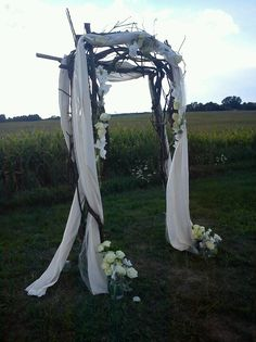 Ceremony arch I designed & helped build for a rustic outdoor wedding!!