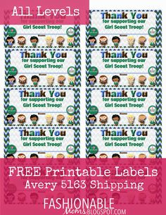 Hi, friends! Here are some Thank You labels that fit on Avery 5163 shipping labels.... Daisies , Brownies , Juniors  & All Levels .  Have th...