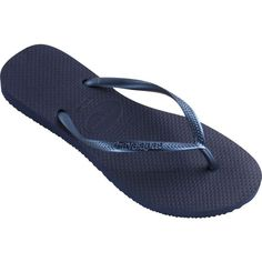 HAVAIANAS Slim flip flops ($26) ❤ liked on Polyvore featuring shoes, sandals, flip flops, 22. flats & sandals., flats, navy blue, navy blue flip flops, slip on shoes, navy flats and slip on flats