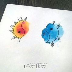 Yin to My Watercolor Yang - Super Cute Matching Tattoo Ideas For You and Your Best Friend - Photos (Best Friend Tattoos) Twin Tattoos, Couple Tattoos, Body Art Tattoos, Girl Tattoos, Sleeve Tattoos, Cat Tattoos, Arrow Tattoos, Trendy Tattoos, Unique Tattoos
