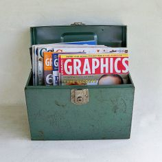 Mid Century Industrial Green Metal File Box by leapinglemming, $18.95