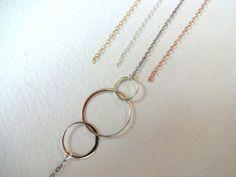 925 Sterling Silver 3 Circle Charm Pendant & 14k by KalosandCo, $40.00