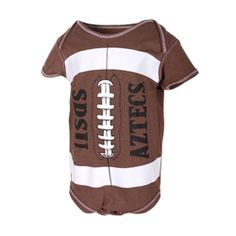 Infant Football Onesie Infant onesie featuring a football design screen print with SDSU Aztecs on the front, and the interlocking SD Spear logo on the upper back. $25