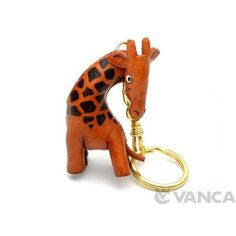GENUINE 3D LEATHER GIRAFFE KEYCHAIN MADE BY SKILLFUL CRAFTSMEN OF VANCA CRAFT IN JAPAN. #handmade #keyfob #gift #unique #art #design #cute #animal