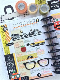 a Halloween-themed October monthly spread in The Happy Planner™ of mambi Design Team member Mary-Ann Maldonado me & my BIG ideas Planner Tips, Goals Planner, Planner Pages, Life Planner, Planner Stickers, Planner Layout, Create 365 Happy Planner, Bujo, Bullet Journal