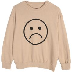 Sad Sweater ($35) ❤ liked on Polyvore featuring tops, sweaters, shirts, sweatshirt, beige top and beige sweater
