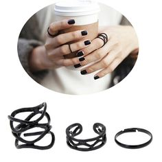 3Pcs/set Punk Retro Personality Multilayer Hollow Exaggerated Geometry Black Metal Cross Rings Band Knuckle Ring Set For Women