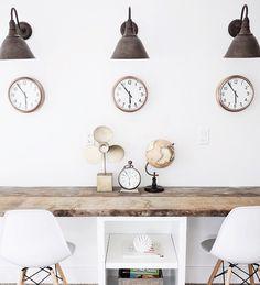 ideas office lighting wood for 2019 Home Office Design, Home Office Decor, House Design, Home Decor, Restoration Hardware Lighting, Restoration Hardware Office, Gooseneck Lighting, Sconce Lighting, Vintage Bookshelf