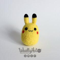 Needle Felted Pikachu, Felted Pokemon Pikachu, Pikachu Pokemon Plush, Handmade…