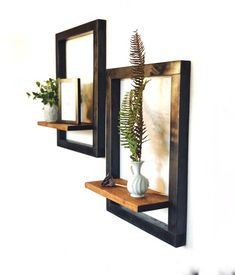 Modern Floating Shelf Set — Ians Furniture - - Modern Floating Shelf Set, made entirely out of wood. Boxed edges are stained black to give an industrial outline to the floating shelf. Gives any wall great dimension. Metal Furniture, Home Decor Furniture, Diy Home Decor, Room Decor, Modern Floating Shelves, Frame Shelf, Mason Jar Sconce, Wall Shelves Design, Bookshelf Design