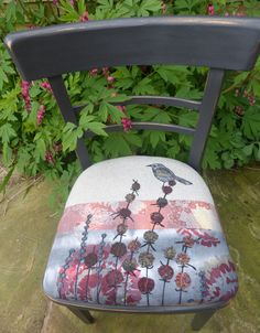 Bird on seed heads on peiced background machine stitched, hand dyed fabrics. Chair hand painted.