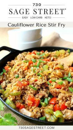 Low Carb Chicken Recipes, Healthy Crockpot Recipes, Low Carb Recipes, Diabetic Recipes, Vegan Recipes, Cauliflower Rice Stir Fry, Cauliflower Recipes, Low Carb Chili, Low Carb Keto
