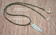 SOA Inspired Feather Necklace  Pyrite by TwoFeathersJewelry