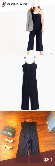 """NWT j. Crew navy cropped jumpsuit 10 This is for an absolutely stunning navy blue jump suit or romper. It is brand new with tags from j. Crew. 100% polyester. This jumpsuit can be dress up with heels and a blazer or down with sandals! Bust 36"""", waist 32"""", hips hips 44"""", inseam 22"""", cuff 9"""". My favorite part is that this jumpsuit has pockets!!! Two on the front and two groused style in the back.   F23 J. Crew Pants Jumpsuits & Rompers"""