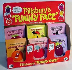 """Pillsbury Funny Face soft drink mixes - I was part of their """"fun club"""" and got all kinds of fun things in the mail."""