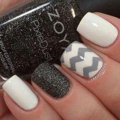 Black white grey chevron sparkle nails
