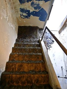 Jessica Wohl's 'Hairy Staircase', 2011. synthetic hair, fabric and steel installed in the abandoned Mountainaire Hotel, Hot Springs, Arkansas.