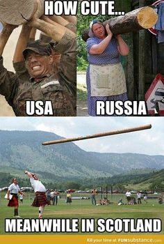 Humor Discover How cute USA vs Russia vs Scotland is part of humor - comics to funny ecards memes fails Funny Shit Funny Cute The Funny Funny Jokes Funny Stuff Funny Commercials Car Jokes Funny Things Funny Fails Funny Pictures With Captions, Picture Captions, Funny Photos, Funny Images, Stupid Pictures, Meme Pics, Funny People Pictures, Hilarious Pictures, Funny Captions