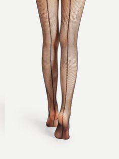 Shop Back Seam Fishnet Tights online. SheIn offers Back Seam Fishnet Tights & more to fit your fashionable needs. Stockings Outfit, Nylon Stockings, Pantyhose Fashion, Fishnet Tights, Nylons, Pink High Heels, Lace Socks, Patterned Tights, Type Of Pants