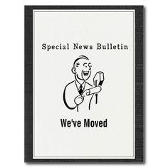 Vintage Special News Bulletin We've Moved Postcards