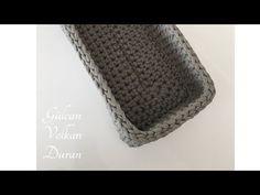 Penye İpten dikdörtgen sepet yapımı -1 - YouTube