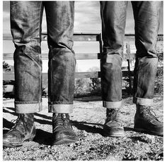 Just a great snapshot of denim and boots in their natural habitat ~ Old Man Fancy.