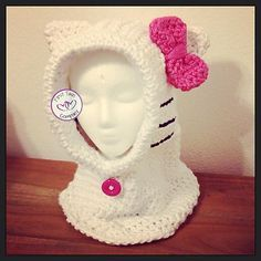 Ravelry: Hello Kitty Hooded Cowl pattern by First Twin Company Shout Out to this designer!  Oh MY! This is so cute!