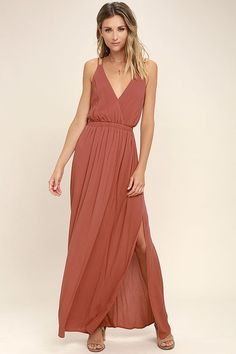 We've got an adventure dreamed up, and it starts and ends with the Lost in Paradise Rusty Rose Maxi Dress! A surplice bodice with a plunging V-neckline meets a strappy, open back and an elastic waistband. Lightweight woven maxi skirt has sexy slits along each side.