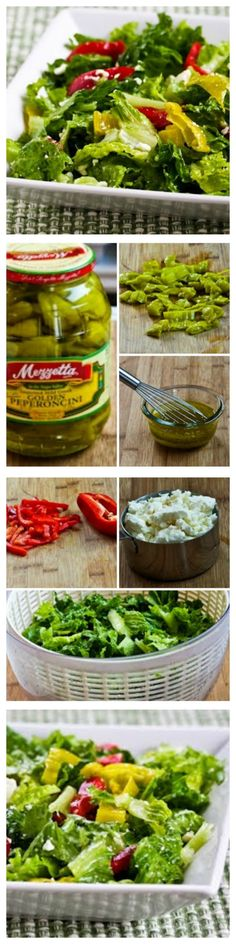 If you're looking for an unusual and delicious salad for #MemorialDay or other summer holidays, this amazing Peperoncini Chopped Salad with Romaine, Red Bell Pepper, and Feta is something I've made over and over for family parties. It's one of the salads my family requests most often.  Adding a little bit of the peperoncini brine to the dressing really makes the flavors pop in this #LowCarb salad.  [from KalynsKitchen.com]
