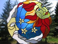 Sun and Moon Stained Glass Art by Todd Wislon (Veneta Oregon) - freepatternsforstainedglass.com