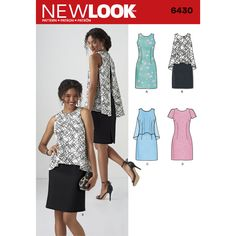 This stylish sheath dresses for miss features attached long or short popover in contrast fabric, or sheath without popover can be sleeveless or have short sleeves. New Look sewing pattern. New Look Patterns, Simplicity Sewing Patterns, Clothing Patterns, Dress Patterns, Nouveau Look, Sweater Refashion, Miss Dress, Country Shirts, Dresses For Work