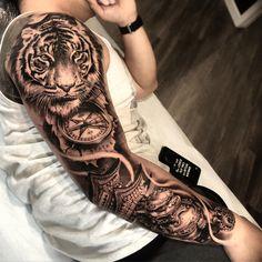 tattoo old school tattoo arm tattoo tattoo tattoos tattoo antebrazo arm sleeve tattoo Tiger Tattoo Sleeve, Lion Tattoo Sleeves, Full Sleeve Tattoos, Tattoo Sleeve Designs, Tattoo Designs Men, White Tiger Tattoo, Head Tattoos, Back Tattoos, Body Art Tattoos