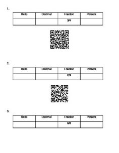 Students will take a given fraction and make it into a decimal, ratio, and a percent. Then they can check their answer with a QR scanner. Decimal, Percents, Fractions, Students, Math, Check, Math Resources, Mathematics