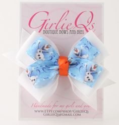 Olaf Frozen Hair Bow Hair Clip 5 x 4 Disney World by GirlieQs, $6.00 https://www.etsy.com/listing/196896930/olaf-frozen-hair-bow-hair-clip-5-x-4?ref=sr_gallery_15&ga_order=date_desc&ga_view_type=gallery&ga_ref=fp_recent_more&ga_page=65&ga_search_type=all