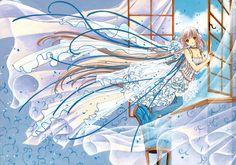 chii robe bleu et blanche fenêtre