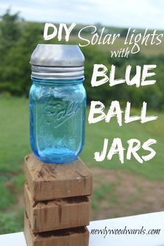 DIY Blue Ball Jar Solar Lights - this simple DIY project takes just minutes and less than $3/light.