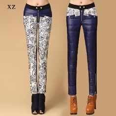 new winter 2014 white duck down slim fashion down pants female blue and white porcelain plus velvet thickening warm trousers