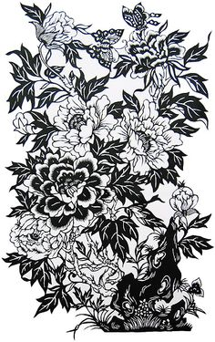 chinese paper cut peony - Google Search